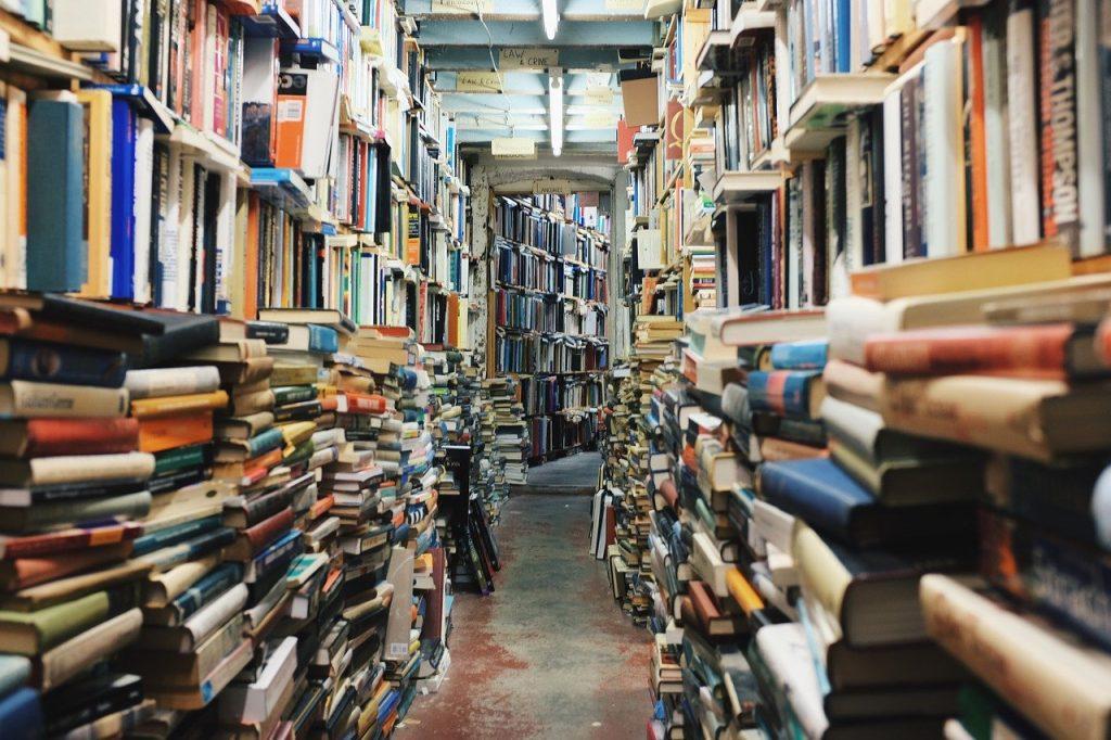 foto de biblioteca ou sebo de livros usados fileira de livros
