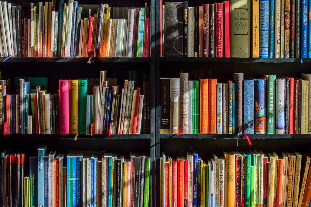 foto de prateleira de livros