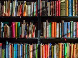 foto de uma estante de livros