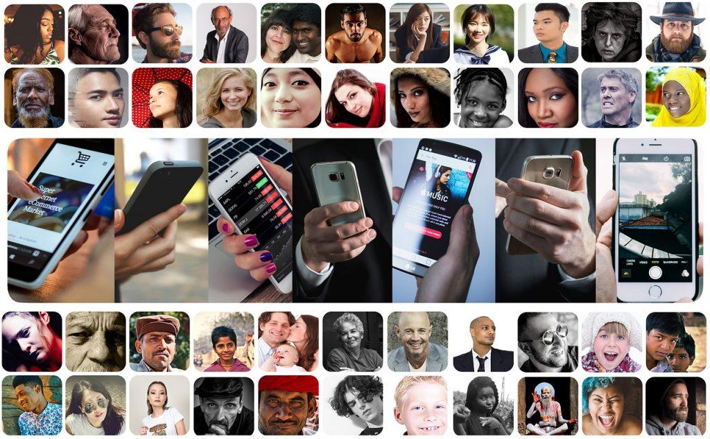 imagem ilustrativa pessoas e telas de smartphone foto pixabay