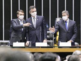 Abertura dos trabalhos legislativos 2021 Plenário da Câmara dos Deputados durante sessão solene do Congresso Nacional